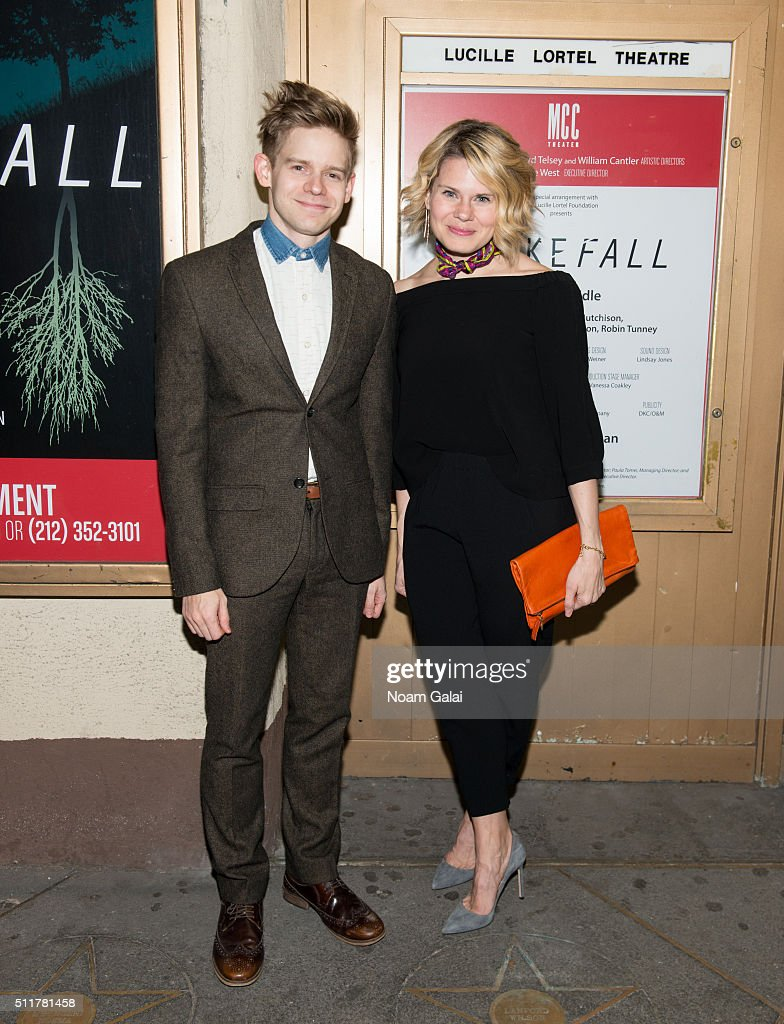 Andrew KeenanBolger and Celia KeenanBolger attend 'Smokefall' opening night at Lucille Lortel Theatre on February 22 2016 in New York City