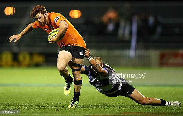 Andrew Kellaway of the Eagles is tackled during the 2016 NRC Grand Final match between the NSW Country Eagles and Perth Spirit at Scully Park on...