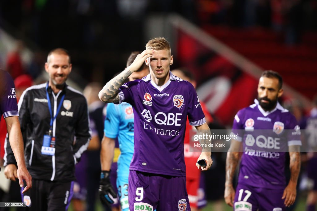 Andrew Keogh of Perth Glory looks on after the round 25 A-League match between Adelaide United and Perth Glory at Coopers Stadium on March 31, 2017 in Adelaide, Australia.