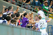 Andrew Keogh of the Glory celebrates with supporters in the crowd after scoring the first goal during the round 20 ALeague match between Melbourne...