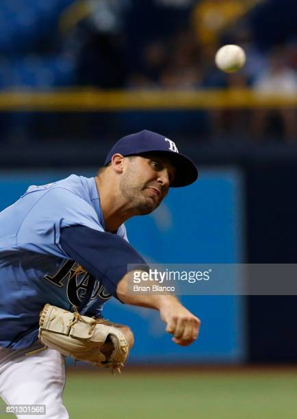 Andrew Kittredge of the Tampa Bay Rays pitches during the ninth inning of a game against the Texas Rangers on July 23 2017 at Tropicana Field in St...