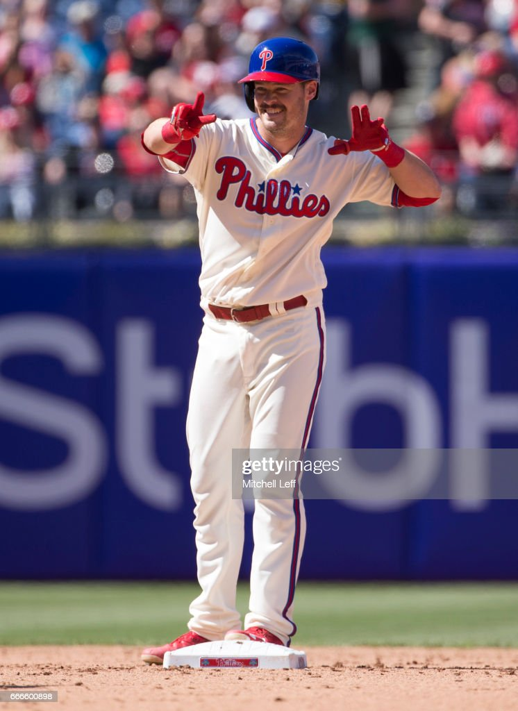 Andrew Knapp #34 of the Philadelphia Phillies reacts after hitting a double in the bottom of the fifth inning against the Washington Nationals at Citizens Bank Park on April 9, 2017 in Philadelphia, Pennsylvania. The Phillies defeated the Nationals 4-3.
