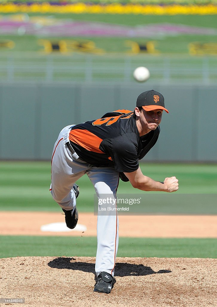 Andrew Kohn #76 of the San Francisco Giants pitches against the Kansas City Royals on March 12, 2012 in Surprise, Arizona.