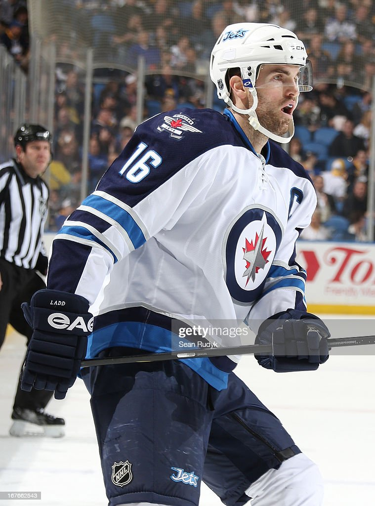 Andrew Ladd #16 of the Winnipeg Jets skates against the Buffalo Sabres at First Niagara Center on April 22, 2013 in Buffalo, New York.