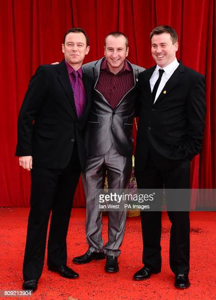 Andrew Lancel Andrew Whyment and Graeme Hawley arriving for the 2011 British Soap Awards at Granada Studios Manchester