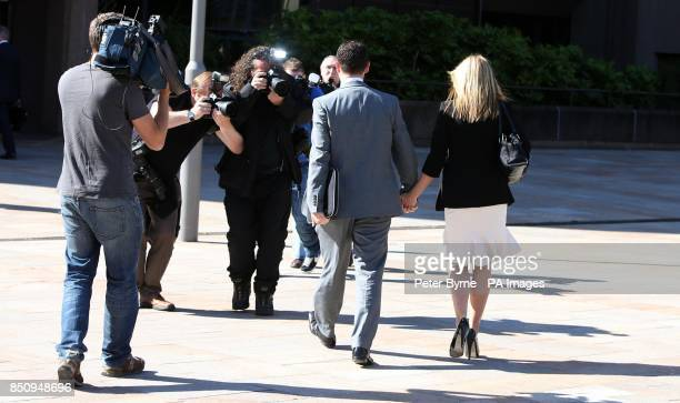 Andrew Lancel arrives at Liverpool Crown Court with his wife Louise where he is charged with sexually assaulting a teenage boy