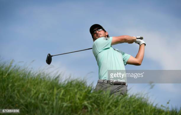 Andrew Landry hits a drive on ninth hole during the first round of the Webcom Tour United Leasing Finance Championship at Victoria National Golf Club...