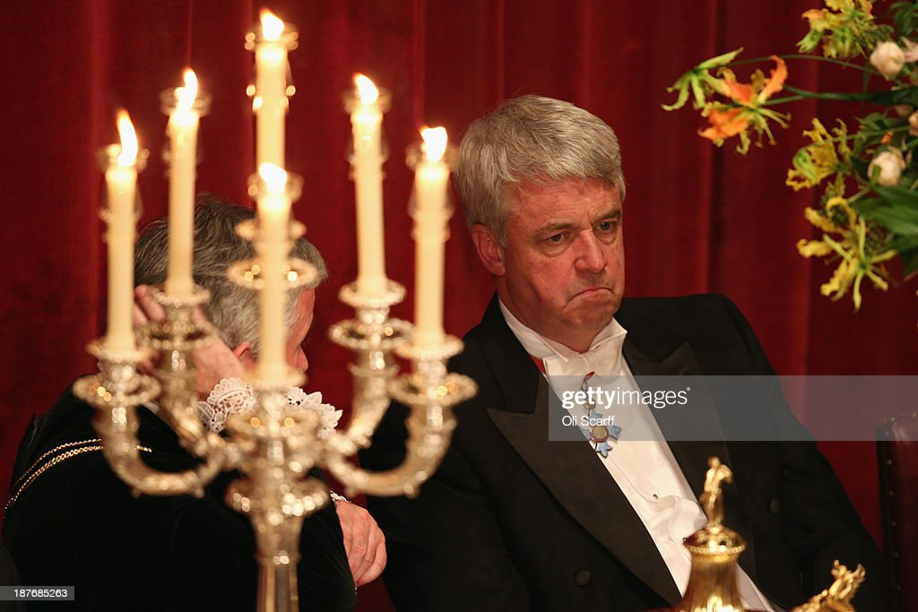 <a gi-track='captionPersonalityLinkClicked' href=/galleries/search?phrase=Andrew+Lansley&family=editorial&specificpeople=829029 ng-click='$event.stopPropagation()'>Andrew Lansley</a> listens to the speeches in the Guildhall during The Lord Mayor's Banquet on November 11, 2013 in London, England. The New Lord Mayor of London Fiona Woolf is hosting the annual Lord Mayor's Banquet in London's Guildhall which will feature speeches from the Prime Minister and the Archbishop of Canterbury. Alderman Fiona Woolf has been elected as 686th Lord Mayor of the City of London and the second ever woman to hold the role.