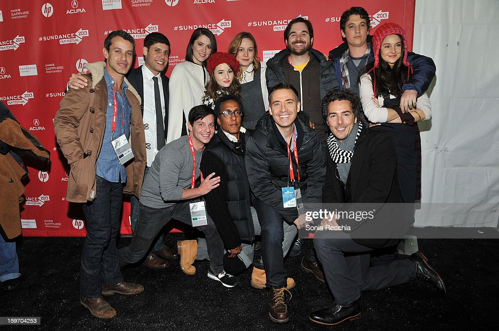 Andrew Lauren, Michael H. Weber, Mary Elizabeth Winstead , Kaitlyn Dever , Brie Larson ,James Ponsoldt, Miles Teller, Shailene Woodley, Scott Neustadter, Andre Royo, Tom McNulty, Shawn Levy attend 'The Spectacular Now' premiere at Library Center Theater during the 2013 Sundance Film Festival on January 18, 2013 in Park City, Utah.