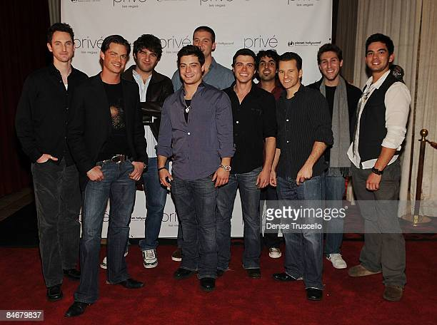 Andrew Lawrence center and Matthew Lawrence 5th from right arrive at Andrew Lawrence's 21st birthday at Prive Nightclub At Planet Hollywood Resort...