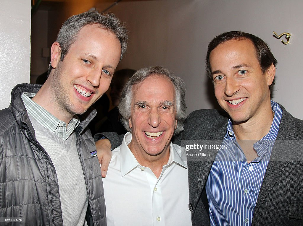 Andrew Lenchewski, <a gi-track='captionPersonalityLinkClicked' href=/galleries/search?phrase=Henry+Winkler+-+Actor&family=editorial&specificpeople=206799 ng-click='$event.stopPropagation()'>Henry Winkler</a> and Michael Rauch pose backstage on opening night of 'The Performers' on Broadway at the Longacre Theatre on November 14, 2012 in New York City.