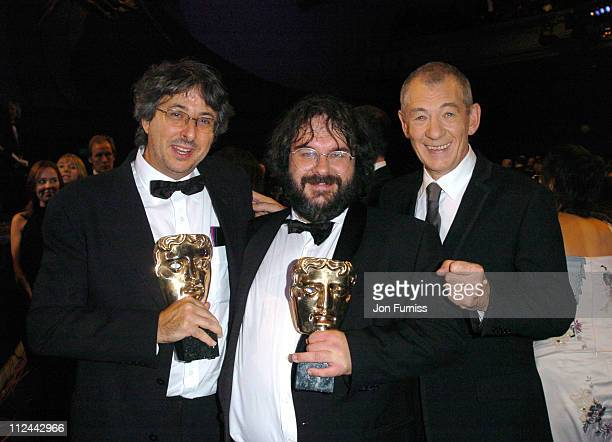 Andrew Lesnie Peter Jackson and Sir Ian McKellen during 2004 BAFTA Awards Backstage and Audience at The Odeon Leicester Square in London United...