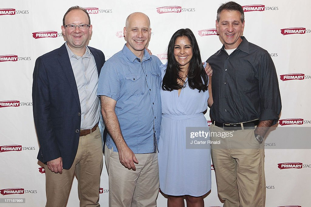 Andrew Leynse, Eric Simonson, Michelle Bossy and Elliot Fox attends the cast meet and greet for the upcoming Off-Broadway production 'Bronx Bombers' at Playwrights Horizons Rehearsal Studios on August 21, 2013 in New York City.