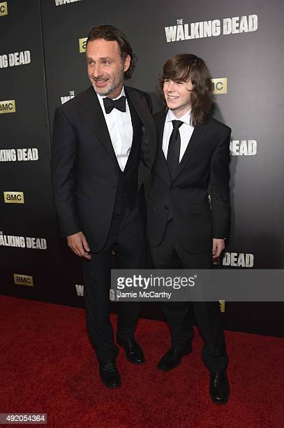 Andrew Lincoln and Chandler Riggs attend AMC's 'The Walking Dead' Season 6 Fan Premiere Event 2015 at Madison Square Garden on October 9 2015 in New...