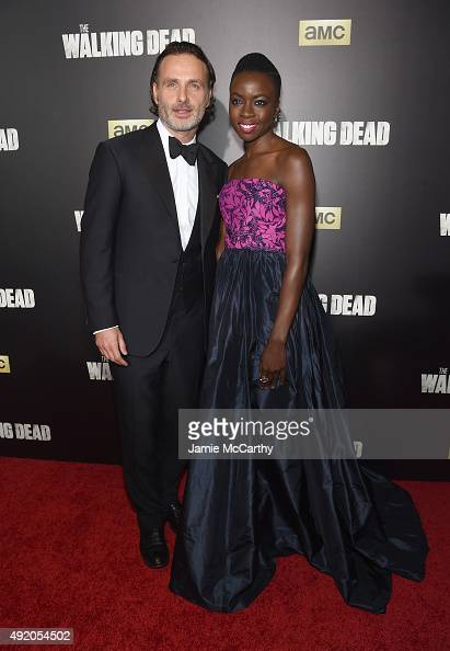 Andrew Lincoln and Danai Gurira attend AMC's 'The Walking Dead' Season 6 Fan Premiere Event 2015 at Madison Square Garden on October 9 2015 in New...