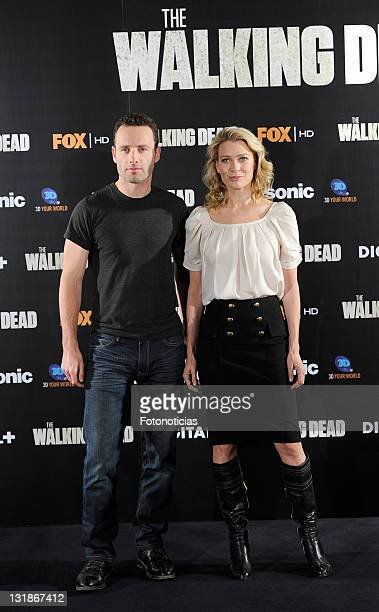 Andrew Lincoln and Laurie Holden attend 'The Walking Dead' photocall at the ME Hotel on November 3 2010 in Madrid Spain