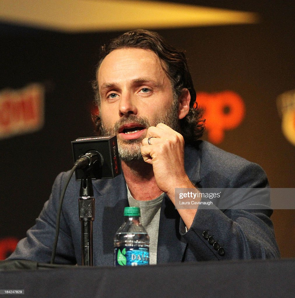<a gi-track='captionPersonalityLinkClicked' href=/galleries/search?phrase=Andrew+Lincoln&family=editorial&specificpeople=216410 ng-click='$event.stopPropagation()'>Andrew Lincoln</a> attends 'The Walking Dead' Panel at New York Comic Con at Jacob Javits Center on October 12, 2013 in New York City.