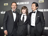 Andrew Lincoln Chandler Riggs and Steven Yeun attend AMC's 'The Walking Dead' Season 6 Fan Premiere Event 2015 at Madison Square Garden on October 9...