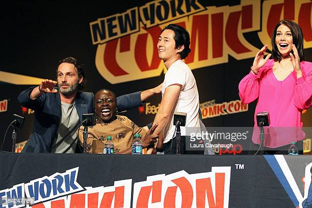 Andrew Lincoln Danai Gurira Steve Yuan and Lauren Cohan attend 'The Walking Dead' Panel at New York Comic Con at Jacob Javits Center on October 12...