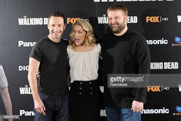 Andrew Lincoln Laurie Holden and Robert Kirkman attend 'The Walking Dead' photocall at the ME Hotel on November 3 2010 in Madrid Spain