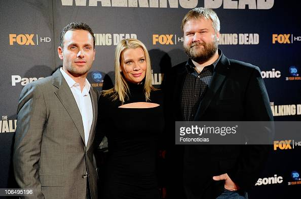 Andrew Lincoln Laurie Holden and Robert Kirkman attend 'The Walking Dead' premiere at the Capitol Cinema on November 3 2010 in Madrid Spain