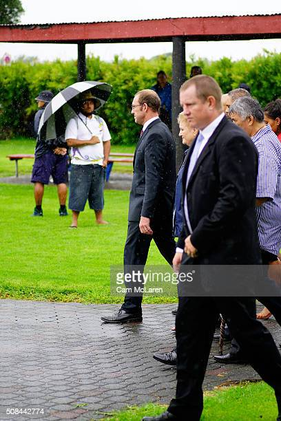 Andrew Little leads members of the Labour party into the Marae after a long wait in the rain on February 5 2016 in Waitangi New Zealand The Waitangi...