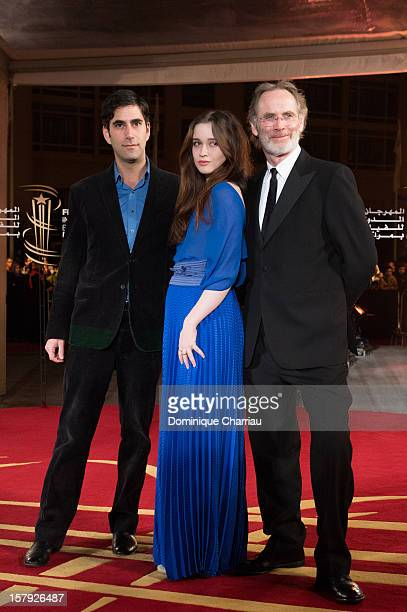 Andrew Litvin Alice Englert and Christopher Sheppard pose as they arrive at the 'Ginger Rosa' Premiere during the 12th International Marrakech Film...
