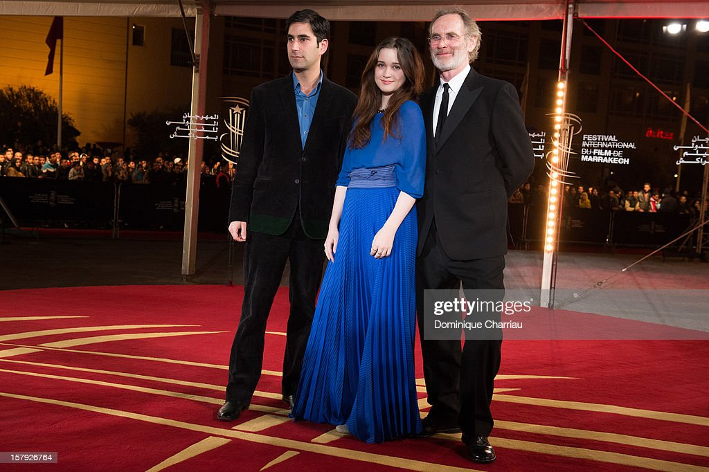 Andrew Litvin, Alice Englert and Christopher Sheppard pose as they arrive at the 'Ginger & Rosa' Premiere during the 12th International Marrakech Film Festival on December 7, 2012 in Marrakech, Morocco.