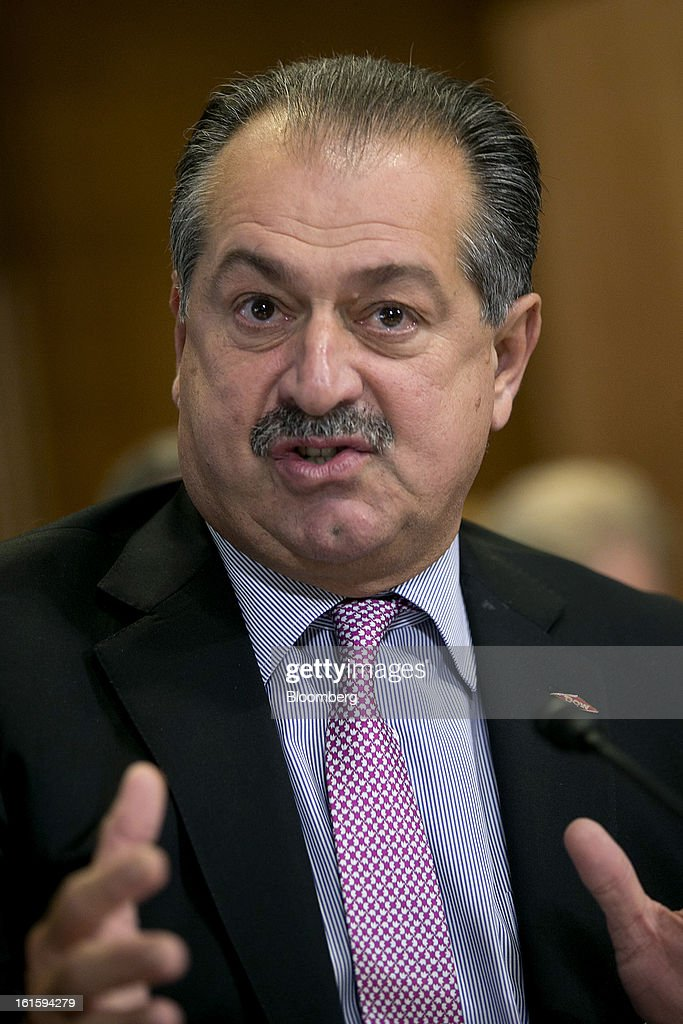 Andrew Liveris, chairman and chief executive officer of Dow Chemical Co., speaks during a Senate Energy and Natural Resources Committee hearing in Washington, D.C., U.S., on Tuesday, Feb. 12, 2013. The top two members of a Senate committee for energy split over expanding U.S. natural gas exports, mirroring a disagreement between fuel consumers such as Dow Chemical Co. and producers such as Exxon Mobil Corp. Photographer: Andrew Harrer/Bloomberg via Getty Images