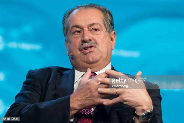 Andrew Liveris chairman and chief executive officer of the Dow Chemical Co speaks during the 2017 CERAWeek by IHS Markit conference in Houston Texas...