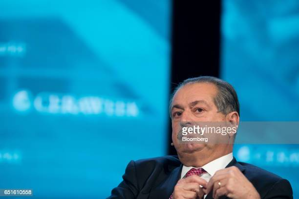 Andrew Liveris chairman and chief executive officer of the Dow Chemical Co listens during the 2017 CERAWeek by IHS Markit conference in Houston Texas...