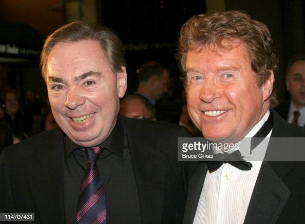 Andrew Lloyd Webber and Michael Crawford during 'Phantom of the Opera' Becomes the LongestRunning Show on Broadway at The Majestic Theatre in New...
