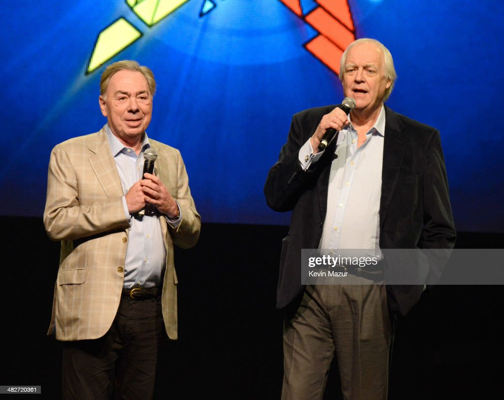 Andrew Lloyd Webber and Tim Rice speak onstage during the press conference for Jesus Christ Superstar Arena Rock Spectacular at Hammerstein Ballroom...