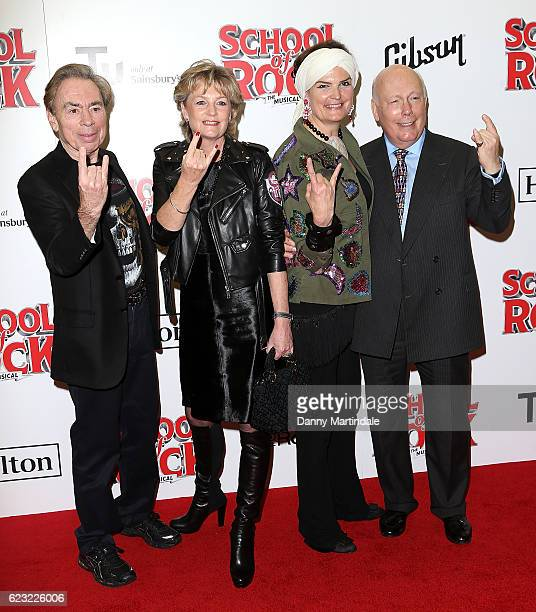 Andrew Lloyd Webber Madeleine Lloyd Webber Emma Joy Kitchener and Julian Fellowes attend the opening night of 'School Of Rock The Musical' at The New...