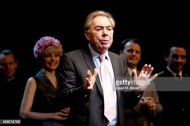 Andrew Lloyd Webber onstage during the curtain call for Andrew Lloyd Webber's new musical 'Stephan Ward' at Aldwych Theatre on December 19 2013 in...