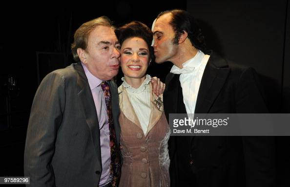 Andrew Lloyd Webber Sierra Boggess and Ramin Karimloo pose backstage following the world premiere of 'Love Never Dies' at the Adelphi Theatre on...