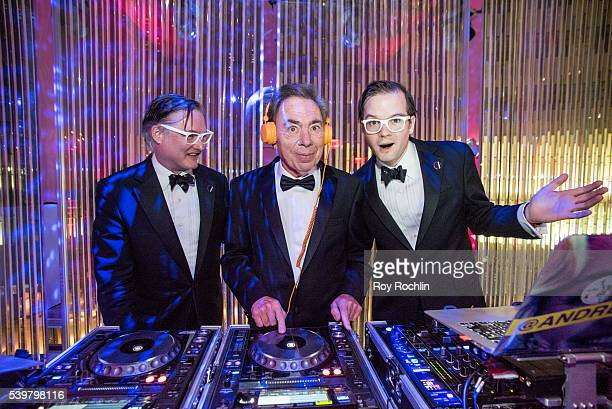 Andrew Lloyd Webber with DJs AndrewAndrew attend DKC/OM's Tony Awards After Party at Baccarat Hotel on June 12 2016 in New York City