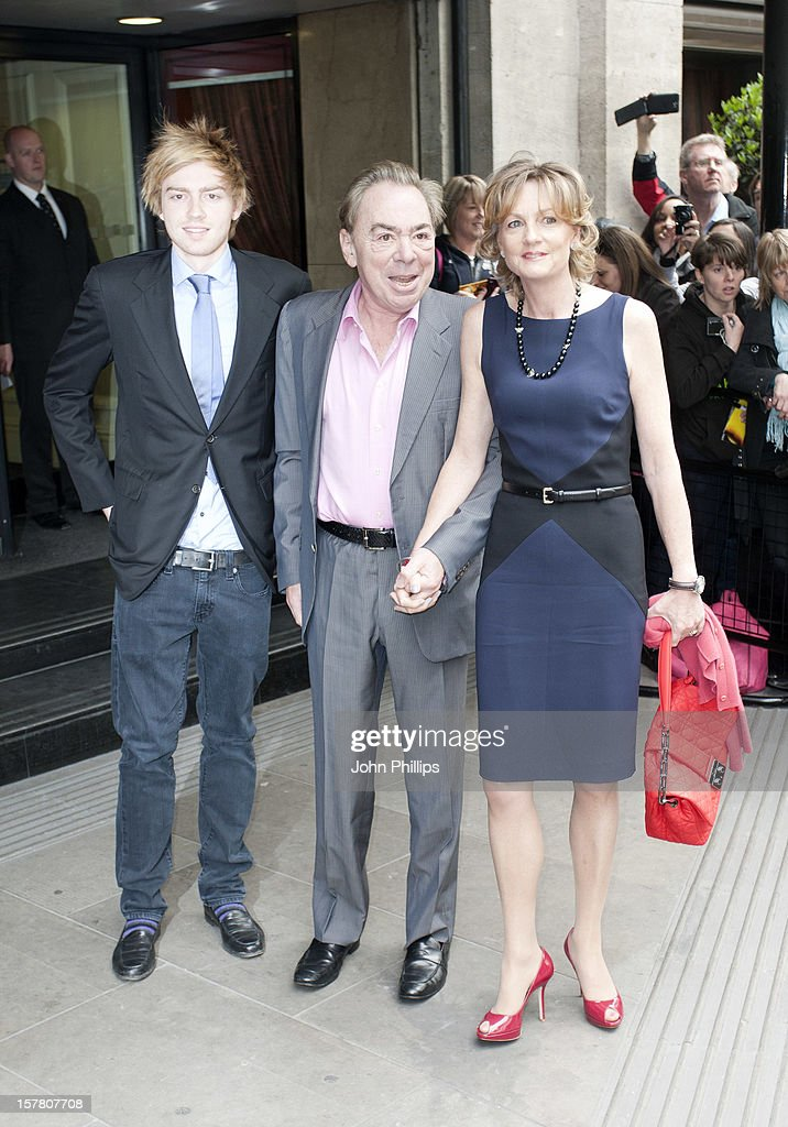Andrew Lloyd Webber With Wife And Son Arrives At The Ivor Novello Awards Arrivals At Grosvenor House Hotel In London.