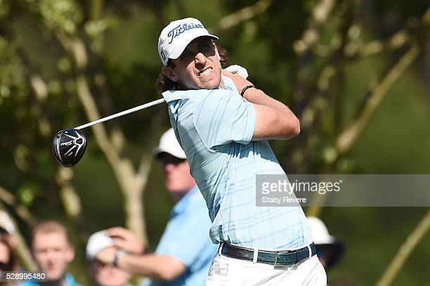 Andrew Loupe hits his tee shot on the 11th hole during the third round of the Wells Fargo Championship at Quail Hollow Club on May 7 2016 in...