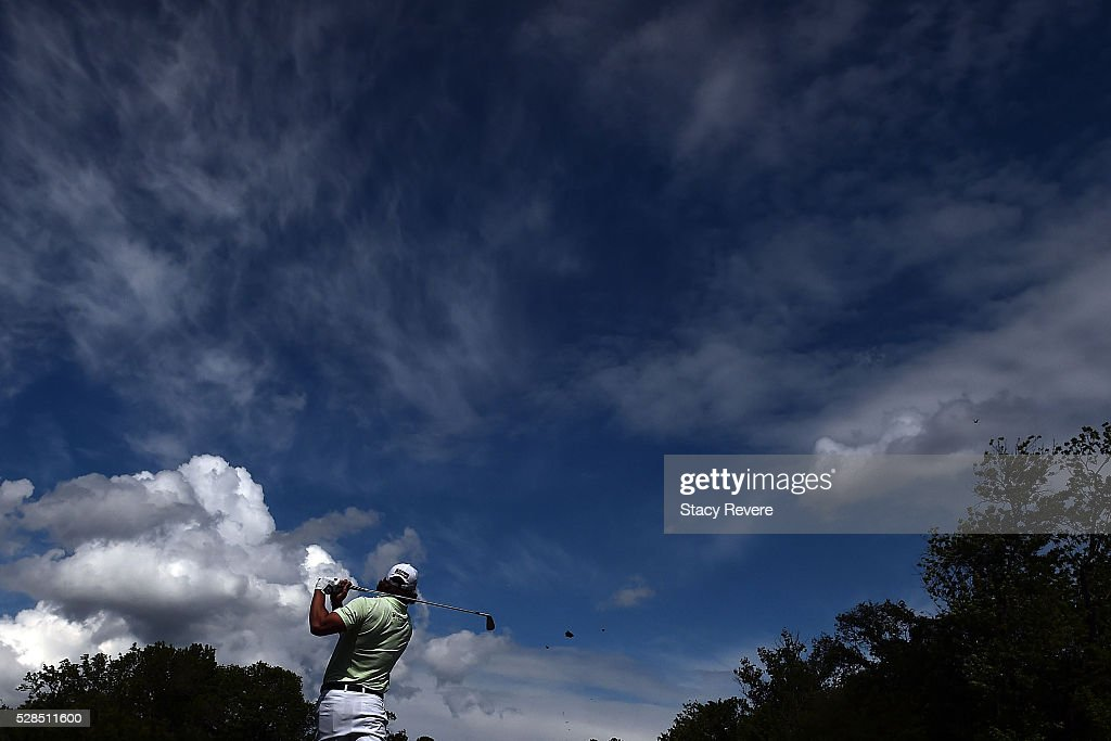 Andrew Loupe hits his tee shot on the 13th hole during the first round of the Wells Fargo Championship at Quail Hollow on May 5, 2016 in Charlotte, North Carolina.