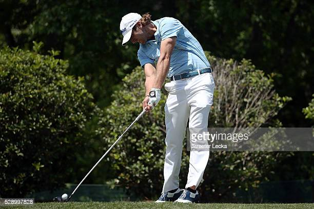 Andrew Loupe hits his tee shot on the fifth hole during the third round of the Wells Fargo Championship at Quail Hollow Club on May 7 2016 in...