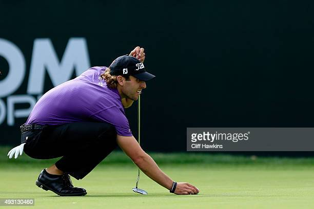 Andrew Loupe lines up a putt on the 18th green during the third round of the Fryscom Open on October 17 2015 at the North Course of the Silverado...