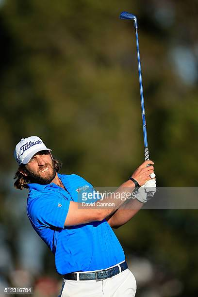 Andrew Loupe of the United States hits his tee shot on the fifth hole during the first round of the Honda Classic at PGA National Resort Spa...
