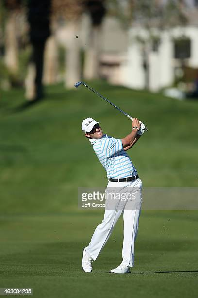 Andrew Loupe playes his second shot in the eighth fareway of the Arnold Palmer Private Course at PGA West during the first round of the Humana...