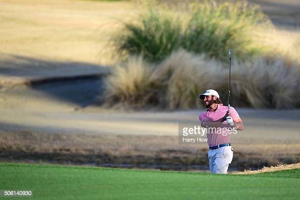 Andrew Loupe plays his second shot on the 18th hole during the first round of the CareerBuilder Challenge In Partnership With The Clinton Foundation...