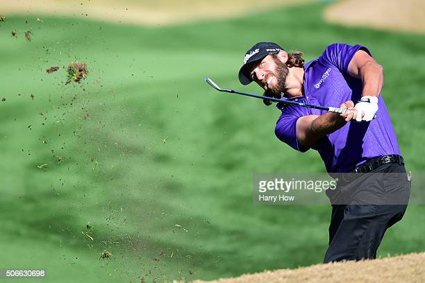 Andrew Loupe plays his second shot on the ninth hole during the final round of the CareerBuilder Challenge In Partnership With The Clinton Foundation...