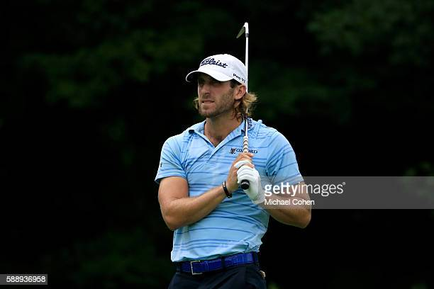 Andrew Loupe plays his shot from the 12th tee during the second round of the John Deere Classic at TPC Deere Run on August 12 2016 in Silvis Illinois