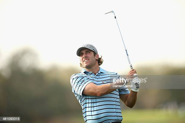 Andrew Loupe plays his shot on the 9th during the Round Two of the Valero Texas Open at TPC San Antonio ATT Oak Course on March 28 2014 in San...
