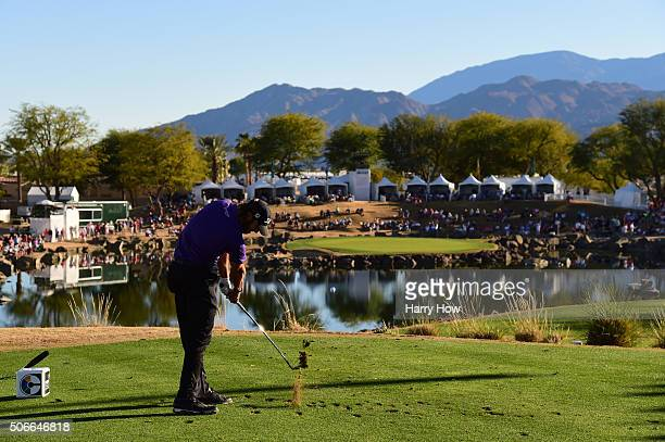 Andrew Loupe plays his tee shot on the 17th hole during the final round of the CareerBuilder Challenge In Partnership With The Clinton Foundation at...