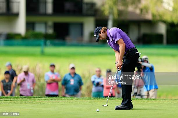 Andrew Loupe putts on the 18th green during the third round of the Fryscom Open on October 17 2015 at the North Course of the Silverado Resort and...